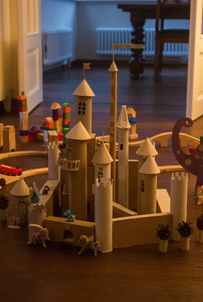 Cardboard castle from TP and Paper Towel Rolls.