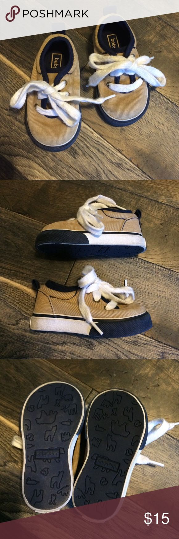 Baby GAP Corduroy Kicks Excellent condition--almost new--baby GAP tan Corduroy with Navy blue accent low-top lace up oxford sneakers. The style is sharp enough looking that they can be worn with casual & even more formal so your little guy's feet are comfortable for romping about. GAP Shoes