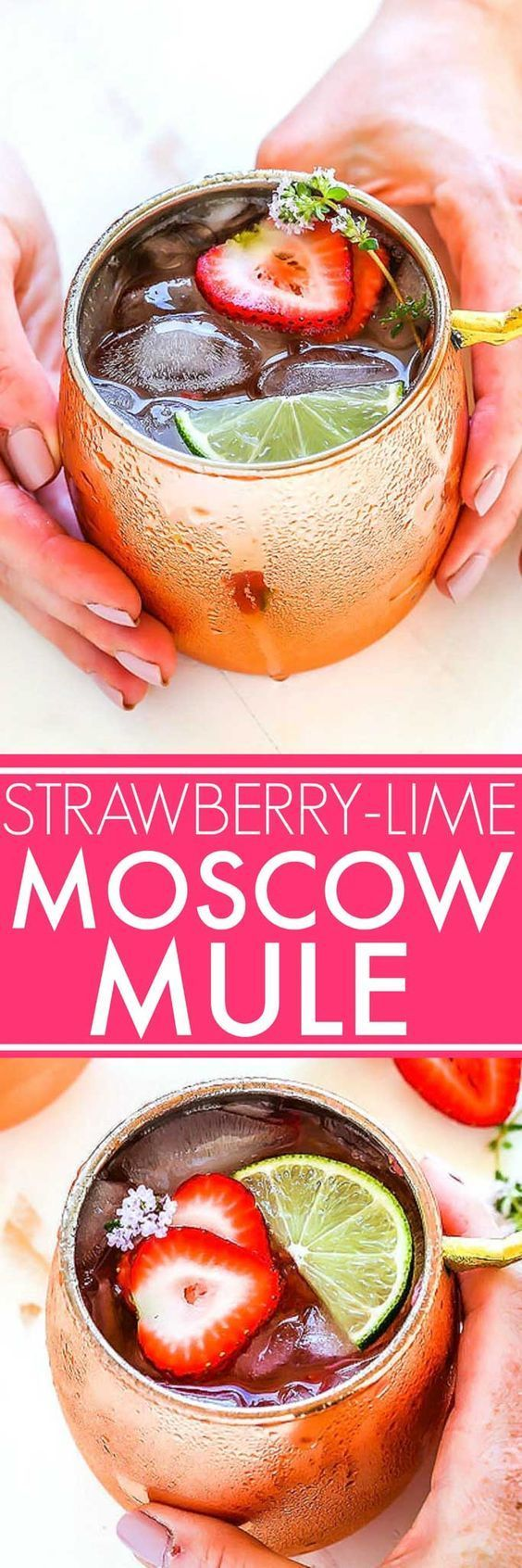 Can't wait to try this Strawberry Lime Moscow Mule! Fresh strawberries, lime juice, vodka and Bundaberg Ginger Beer come together to make this refreshing summer cocktail. And it only takes 5 mins to make! Msg21+ AD http://www.platingsandpairings.com/strawberry-lime-moscow-mule/