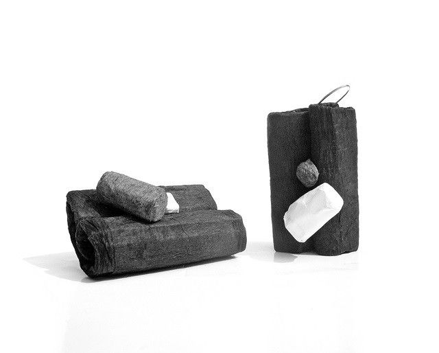folds black and white - earrings