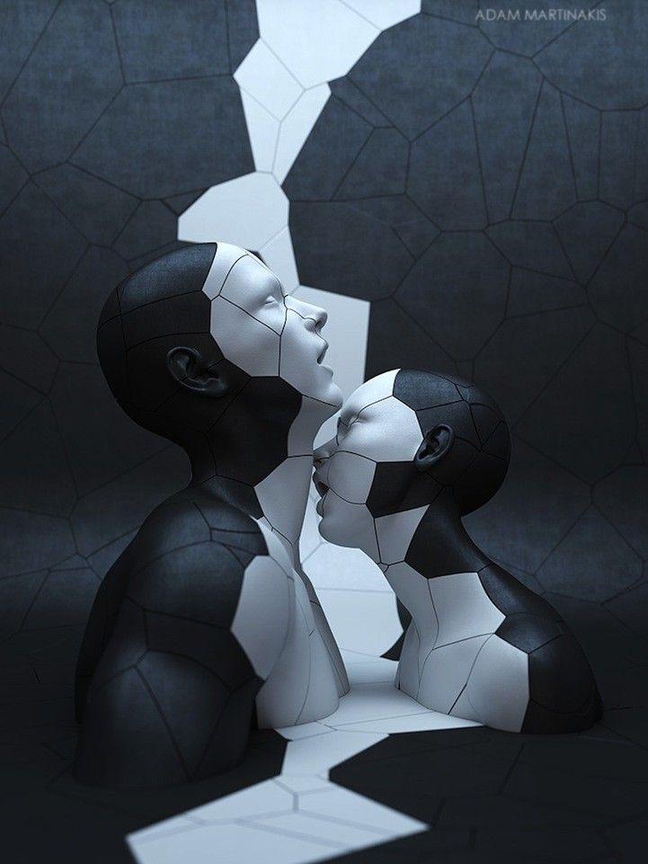 L'artiste basé à Athènes Adam Martinakis crée des sculptures numériques. Chaque rendu tridimensionnel a une vie à part, présentant les descriptions surréalistes de la forme humaine.  Martinakis réussit à communiquer de fortes émotions à travers l'esthétique de ses oeuvres. Les formes à l'apparence vigoureuse, souvent métalliques, de ces êtres numériques, ne sont que le reflet de structures délicates capables de se briser en un million de pièces.