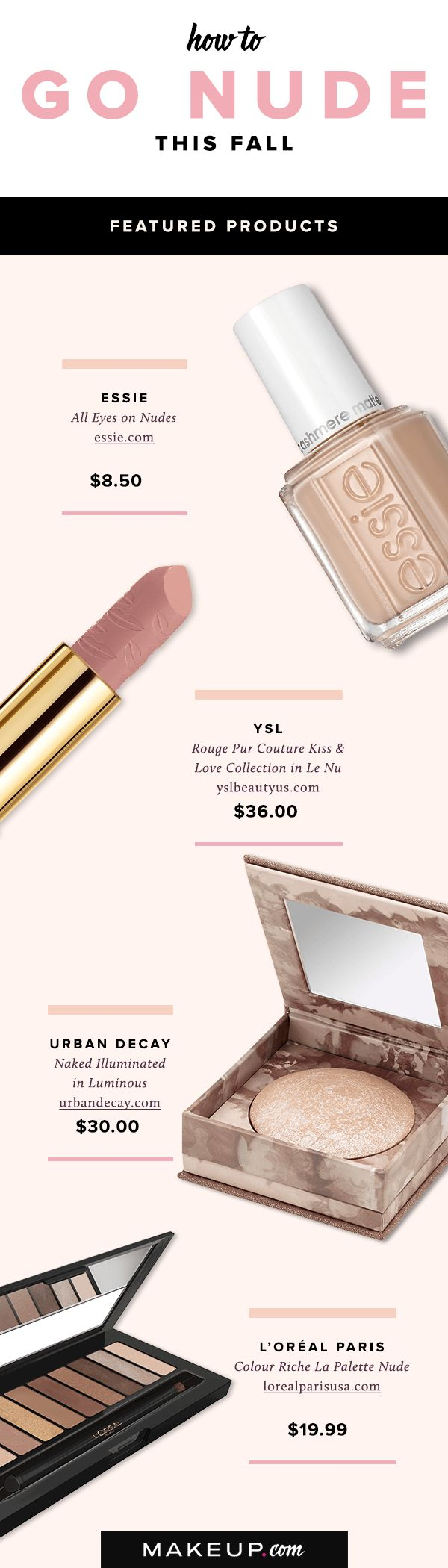 Nude lipsticks, nail polish and eye makeup is always a great way to go if you want to achieve a pretty, classic look this fall. We've put together a guide and tutorial filled with tricks on how to wear nude makeup this autumn.