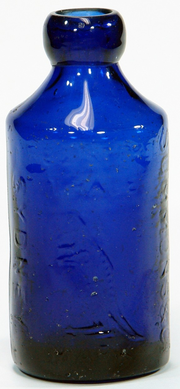 Summons Sydney Kangaroo trade mark. Cobalt Blue dump soda / ginger beer. c1880s