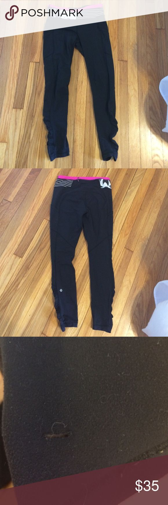 Lululemon speed tights - size 6 These are the older lululemon speed tights. They are longer and hit at the ankle. These are black with a pink, black and white band around the waist. There is definitely PILING on these (that explains the low price). There is also a very small rip on one of the side pockets. It is unnoticeable when worn. The material is the more cotton feel and not the Luon material. lululemon athletica Pants Leggings