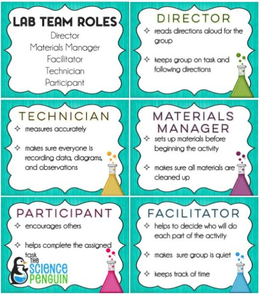 Free Science Lab Team Roles-- classroom management win!