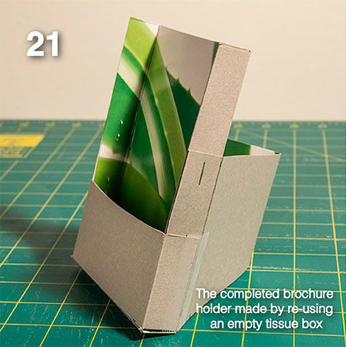 Diy make your own brochure holder from a tissue box for Paper brochure holder template