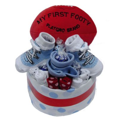 Give your little boy his first footy!  Comes with 14 disposal infant nappies, 100% cotton face washer and more.