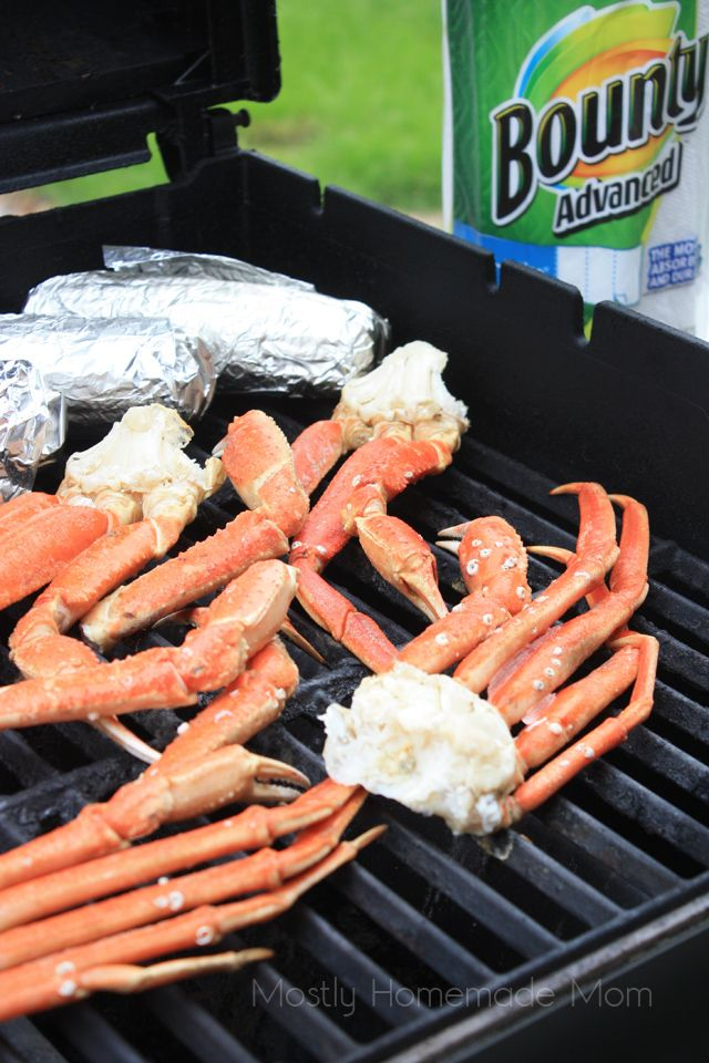 Grilled Crab legs on bbq gas or charcoal grill