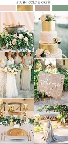 Popular 2017 wedding colors: blush, gold and green. // Perfect to subtly incorporate your Baylor pride!