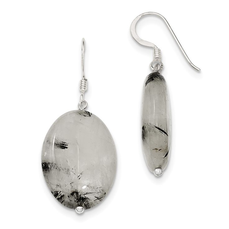 Sterling Silver Tourmalinated Quartz Dangle Earrings