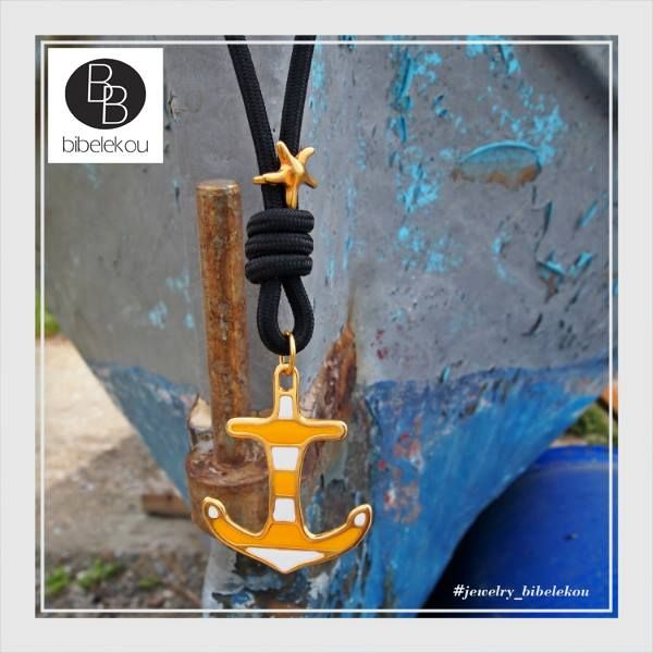 Fashionable anchor necklace with enamel. Jewellery collection Spring Summer 2015