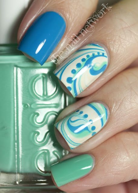I'm useless at water marbling but I never really cared before I saw this!: Nails Art, Nailart, Nails Design, Colors, Blue Green, Nails Ideas, Swirls, Dots, Water Marbles Nails