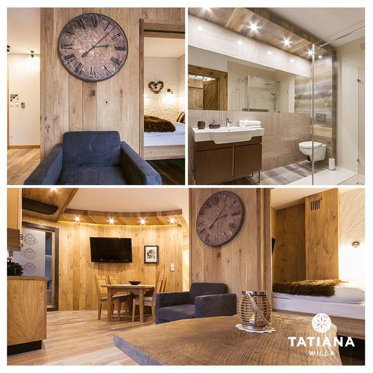 Apartament Stary Dębowy - nazwa pochodzi od użytego w jego wnętrzu drewna pochodzącego ze 120-letniego młyna. Znajdziecie tu też elementy wykonane z wyjątkowego dębu czarnego. Zapraszamy do najmłodszej Willa Tatiana boutique:)