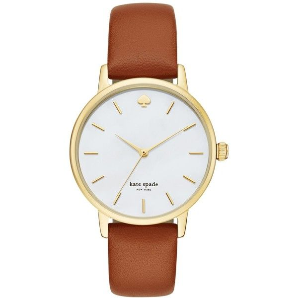 kate spade new york Women's Metro Luggage Leather Strap Watch 34mm... ($195) ❤ liked on Polyvore featuring jewelry, watches, gold, gold wrist watch, gold wristwatches, kate spade, gold tone watches and kate spade jewelry