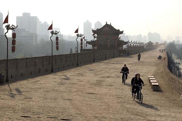 Day 7 De Oude Stadsmuur in Xi'an is ideaal om op te fietsen.