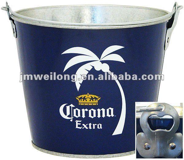 Cubo de metal para enfriar 6 botellas de cerveza con abridor de botellas - Con gráficas promocionales de Cerveza | Marca Weilong.