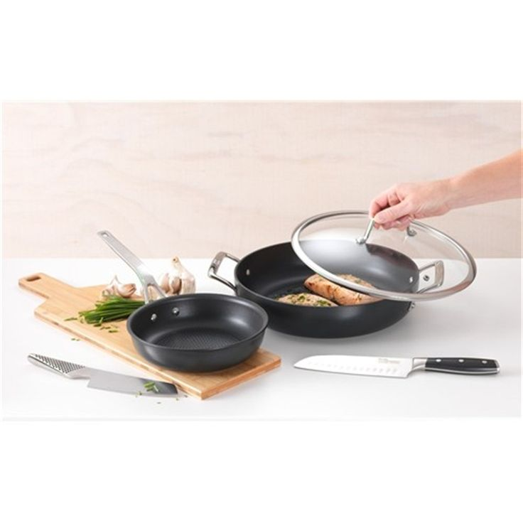Baccarat Pete Evans 30cm Hard Anodised Ultimate Pan with Lid and Handles | Frypans