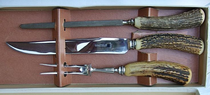 STAG HORN HANDLE 3 PIECE LARGE CARVING KNIFE SET B&J SIPPEL SHEFFIELD ENGLAND #BJSIPPELSheffield
