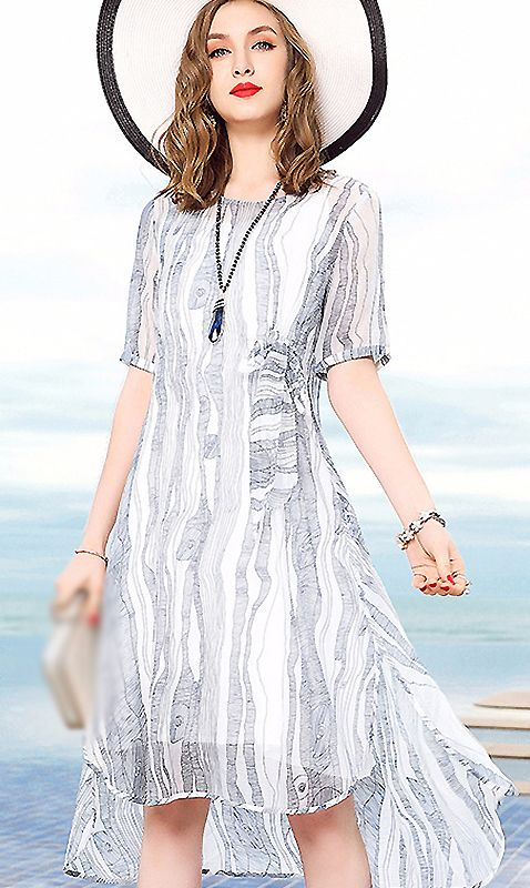 Casual O-Neck Short Sleeve Striped Shift Dress  39c57185f
