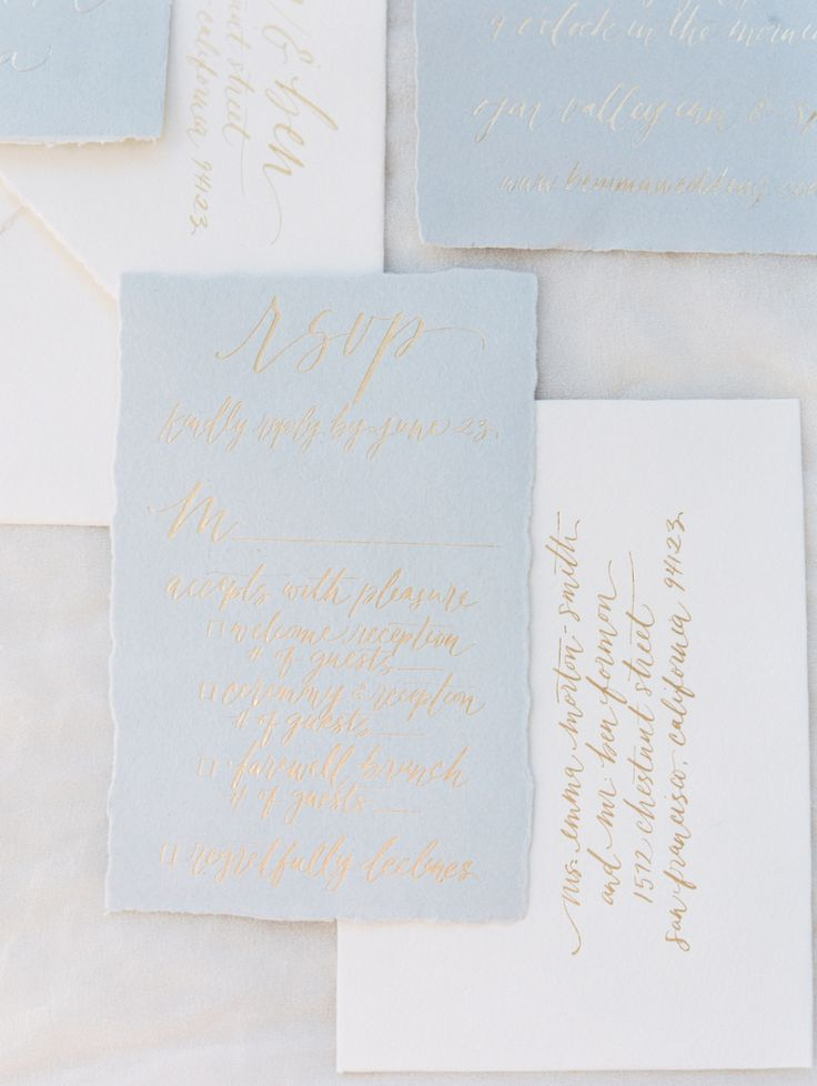 Soft blue wedding invitation with hand-calligraphed gold letters: Invitations: copper willow paper studio - http://copperwillow.com Photography: Erich McVey Photography - erichmcvey.com   Read More on SMP: http://www.stylemepretty.com/2017/03/23/from-rehearsal-dinner-to-big-day-this-celebration-is-one-for-the-books/