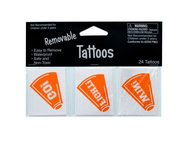 Removable Orange Cheer Tattoos, 144 - 24 Pack Removable Orange Cheer Tattoos. Weight: 0.0408/unit