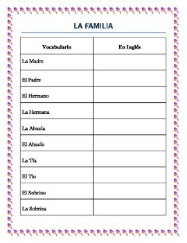 "FREEBIE-This vocabulary worksheet is a great resource to introduce students from grades 3-8 and Spanish I in High School to a basic family vocabulary list.  It will help them to understand proper gender/noun combinations.  Great beginning for them to write a little paragraph about their families combining possessive pronouns , verb ""to be"" an vocabulary words."