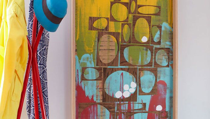 DIY Squeegee Wall Art Use paint and a squeegee to make a colorful piece of artwork for a living room, bedroom, or hallway.