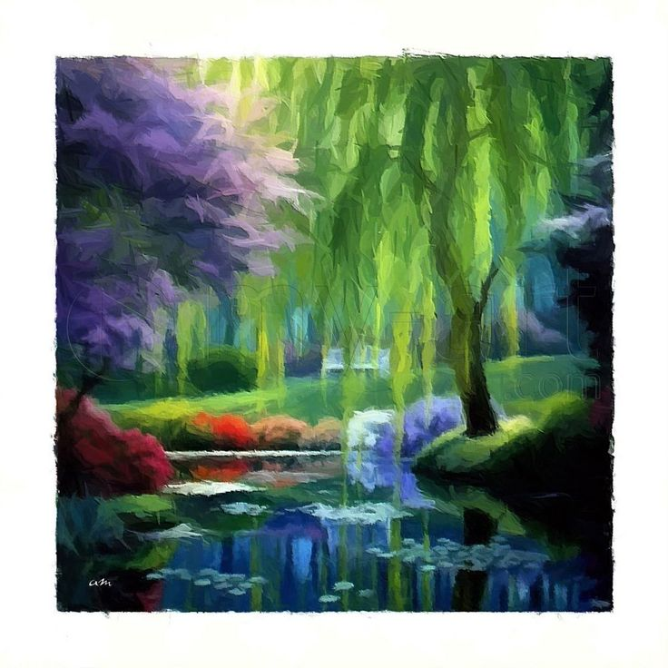 tableau peinture dessin tableau jardin impressionniste une toile de sudpastel impression sur. Black Bedroom Furniture Sets. Home Design Ideas