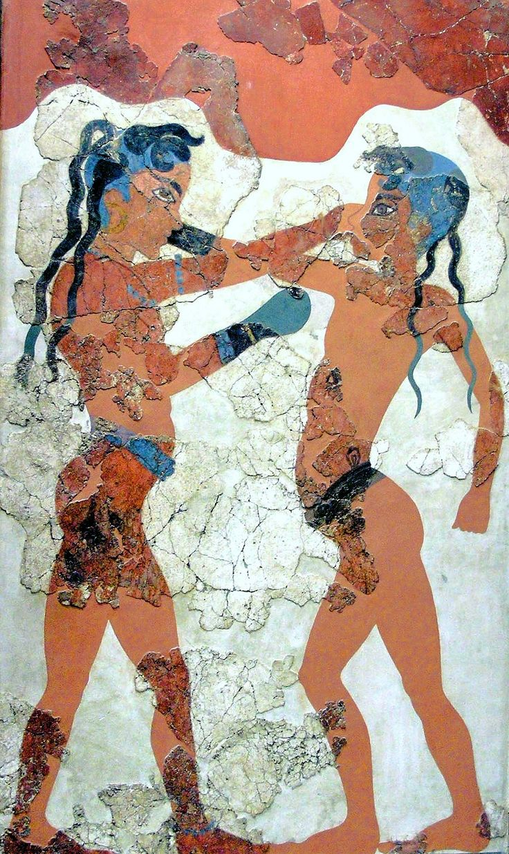 MINOAN FRESCO: Minoan Boxing Boys, restored fresco from Thera (modern-day Santorini), c.1600 BC. Currently located at theNational Archaeological Museum in Athens, Greece.