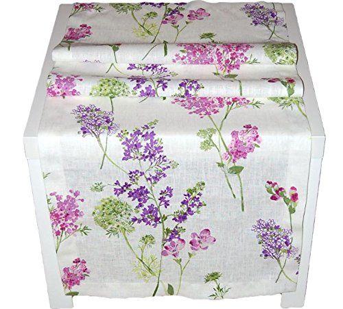 TISCHDECKE 50x150 cm eckig Leinentischdecke SEKT Flieder Blumen Tiefendruck Vintage Style Frühling Sommer Hossner (Tischläufer 50x150 cm)
