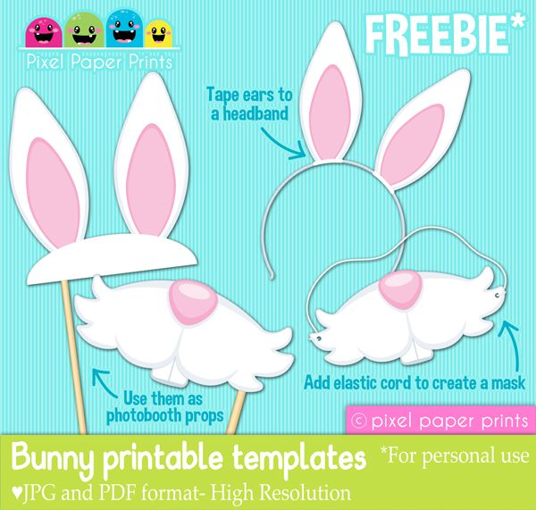 Free Easter Bunny Printable Templates - Download these printable templates that can be used as photobooth props or for dress up. Print them on cardstock or heavy weight paper for best results.