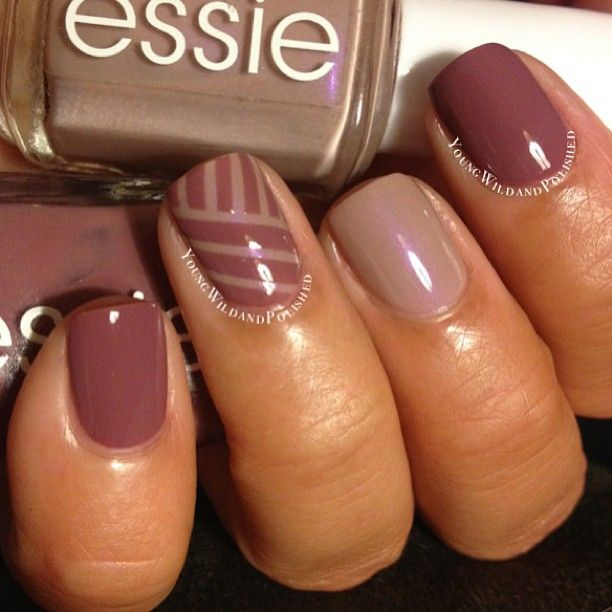Perfect for fall!!! Striping Tape Mani using Essie Island Hopping and Essie Demure Vix.