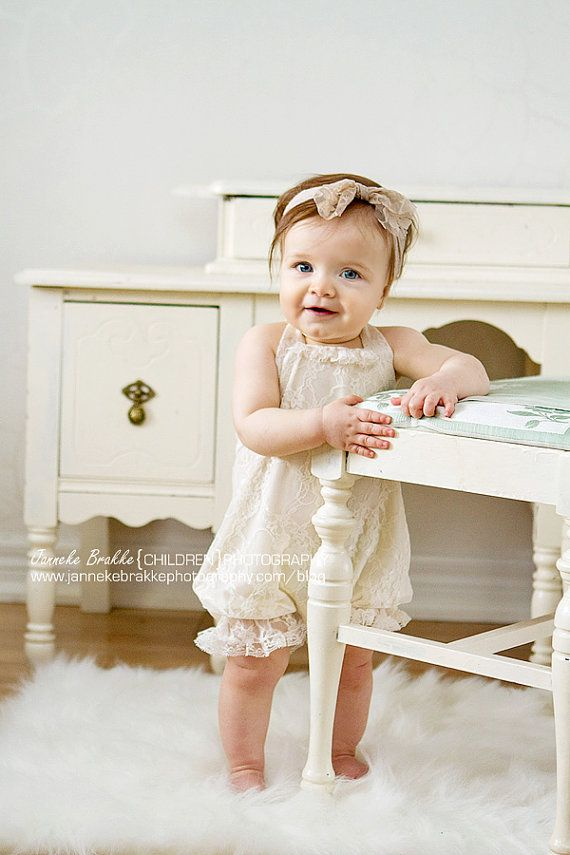 Vintage Style Ivory Lace Baby Romper Lined in Organic Cotton Jersey. in Sizes newborn up to 24 months