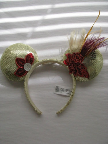 Authentic Disney Minnie Mouse Ears Headband Feathers Rhinestone Roses New | eBay