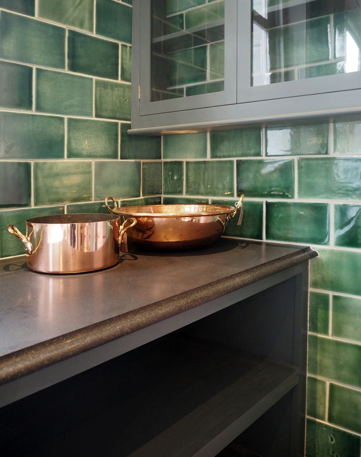 Big Copper Stewing Pans And Deep Green Metro Tiles