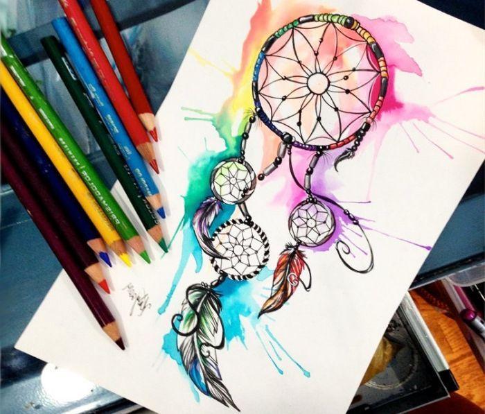 traumfänger zeichnung wasserfarben bilder zum nachmalen