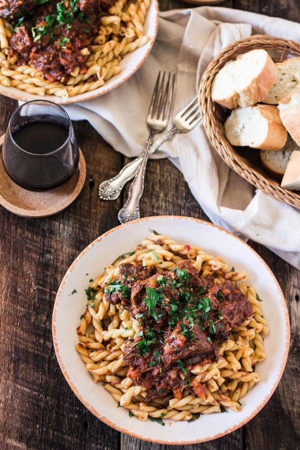 So easy. So incredible.   Hearty Braised Beef and Gemelli Pasta