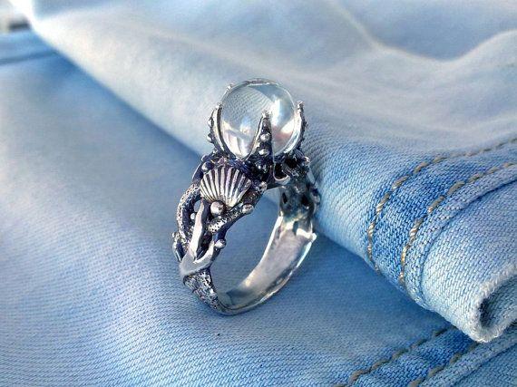 Seahorse Ring.Coral Ring.mermaid Ring.Mermaid silver by Vigmarr