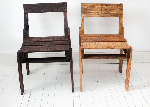 chairs made out of shipping palletsWooden Chairs, Pallets Wooden, Etsy, Custom Options, Wooden Pallets, Captain Chairs, Pallets Stuff, Open Backs, Pallets Chairs