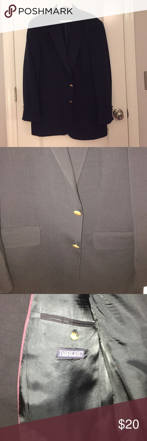 Men's Lands End Sports coat Black sports jacket with gold buttons and shoulder pads. Very good condition. Lands' End Suits & Blazers Sport Coats & Blazers