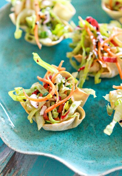 Repinned: Asian Salad Wonton Cup Appetizers - I am going to use the asian mix and dressing and use her won ton cup idea.