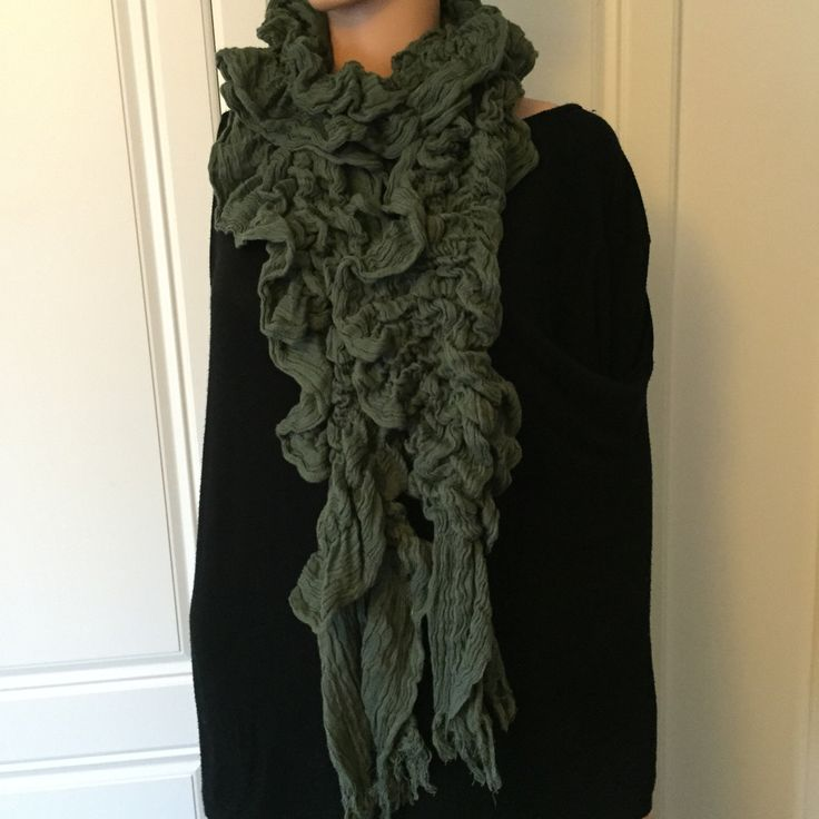 Scarf by Pure of London in Olive Green and Grey