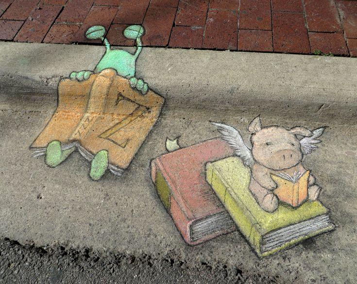 Sluggo at the Ann Arbor Book Festival, where reading is fundamental, contagious and soporific. The Arena Sportsbar, Ann Arbor Book Festival Street Fair, Michigan (June 22, 2014) - street art by David Zinn