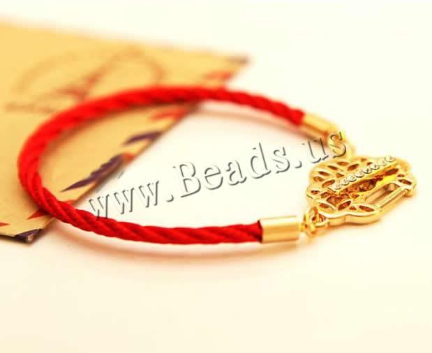 cordón de nylon Pulsera, aleación de cinc cierre de aro y barrita, con diamantes de imitación, Rojo, 25-35mm, longitud:aproximado 7 Pulgada, 6Tiras/Bolsa, Vendido por Bolsa,Abalorios de joyería por mayor de China