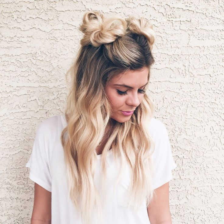 Half up space buns More