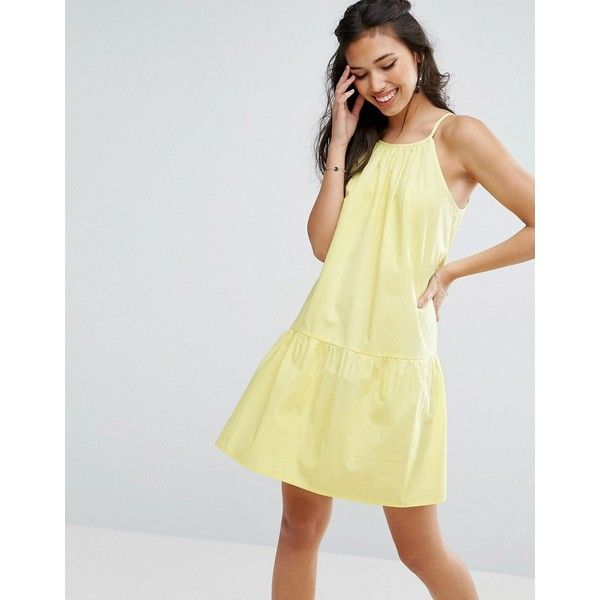 ASOS Drop Waist Sundress in Cotton (£22) ❤ liked on Polyvore featuring dresses, yellow, night out dresses, party dresses, prom dresses, yellow dress and going out dresses