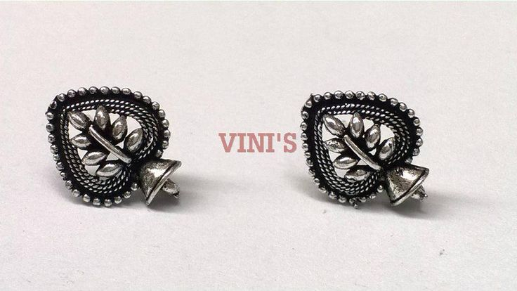 SH8 Antique Silver stud base with loop Stud size 17x12mm, With Rubber stopper Rs- 24/pair