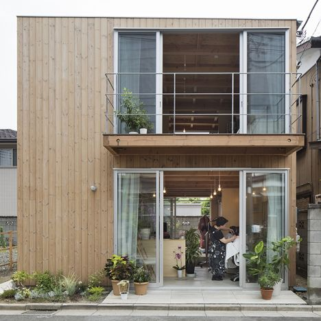 Wooden house by Suzuki Architects also contains a hair salon and a writing…