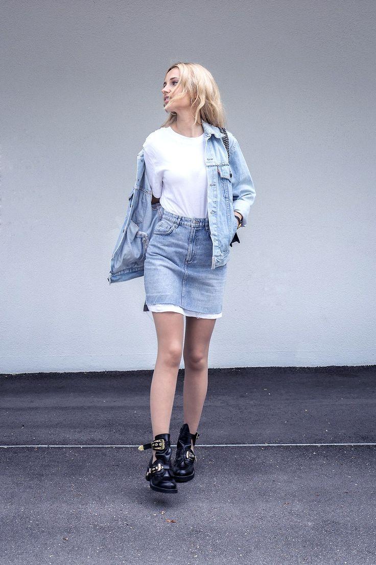 denim outfit skirt levis vintage jacket balenciaga shoes casual ootd street style fashion tumblr