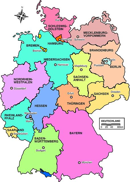 free image on pixabay germany map political regions
